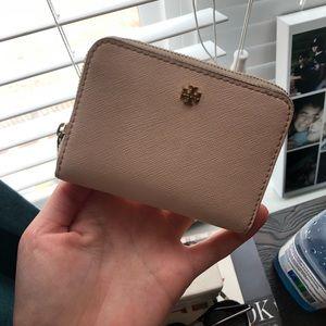 Tory Burch light pink wallet keychain attachment